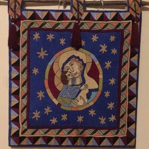 Handmade quilted & embroidered baby Jesus & Mary